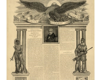 Harrison, Union, Liberty, and Independence - Vintage Art Print - Victorian Antique 1800's Americana - Curiosities - Historic Paper Ephemera