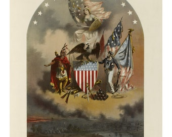 Arms of the United States of America - Vintage Art Print - Victorian Antique  - 1800's Americana - Curiosities - Patriotic Paper Ephemera