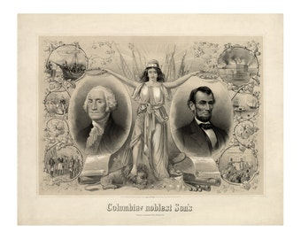 Columbias Noblest Sons - Vintage Art Print - Antique 1800s Americana - George Washington Abraham Lincoln - Curiosities - Patriotic Ephemera