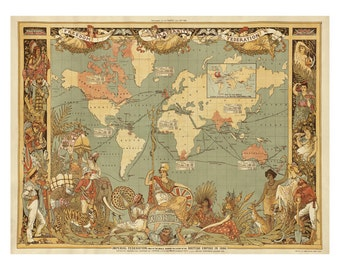 British Imperial Federation Map of the World - Old Maps and Prints - Antique World Map - Wall Art - Historic Map - British Colonial Decor