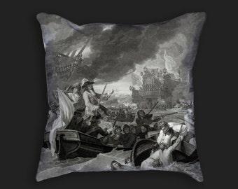 Decorative Pillow - Battle at La Hogue Antique Print - Throw Pillow - Home Decor Accent Pillows - Vintage Nautical Art Print on Pillow