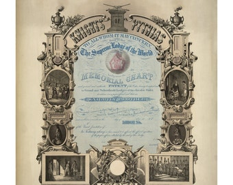 Knights of Pythias Certificate - Vintage Art Print - Victorian Antique Document - 1800's Americana - Curiosities - Oddities - Paper Ephemera