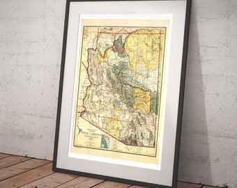 1921 Old State of Arizona Map - Old Maps and Prints - Cartography Wall Art - Antique Grand Canyon Phoenix Tucson Flagstaff Southwest Map