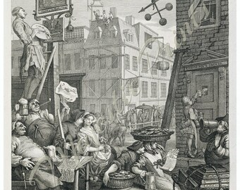 Hogarth's Beer Street Antique Art Print - Bar Decor - Gifts For Men - Vintage Inspired Home Decor - Old Maps and Prints - Fine Art Giclee