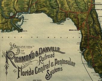 Richmond and Danville Railroad Map of Florida - Old Maps and Prints - Vintage Art Print - East Coast Railroad Map Art - Masculine Decor