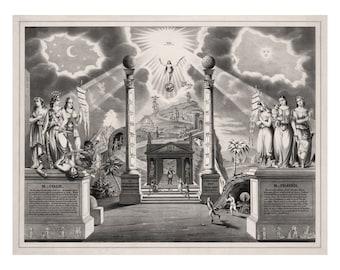 Masonic Chart with Code and Prayer - Vintage Art Print - Antique Freemason Ephemera - Masonic Collectible - 1800s Americana - Secret Society