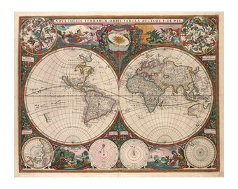 De Wit's Map of the World - Antique Wall Decor - Vintage Art Prints - Old World Restoration Style - Old Maps and Prints - Fine Art Giclee