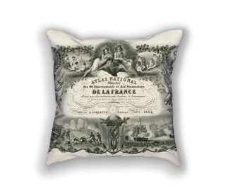 Decorative Pillow - Atlas National Antique Print - Throw Pillow - Home Decor Accent Pillows - Vintage Geology Art Print on Pillow