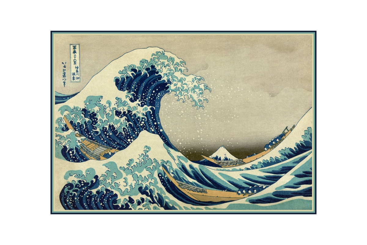 Hokusai great wave art print vintage ocean art japanese woodblock ukiyo e edo period art mount fuji kanagawa japan fishing decor