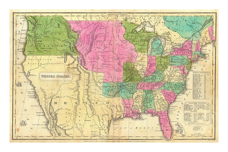 1830 Map Of United States And Territories Old Maps And Etsy - Old-us-27-map