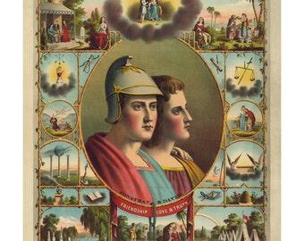In God We Trust Vintage Masonic Art Print - Victorian Antique Document - 1800's Americana - Curiosities - Oddities - Knights of Pythias