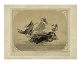 Twilight's Whispering Guardian Angels Vintage Art Print - Christian Religious Art - Old Maps and Prints - 19th Century Art - Paper Ephemera