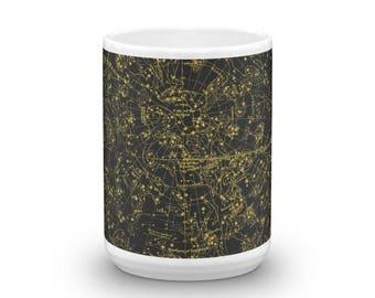 Constellations I 15oz Coffee & Tea Mug - Plate I - Northern Celestial Hemisphere Sky Chart Star Map