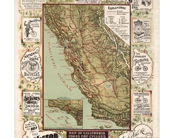 Map of California Roads for Cyclers - Old Maps and Prints - Vintage Poster - Antique Bicycle Wall Art - Cycling Decor - Bike Accessories