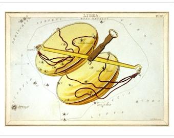 Libra Vintage Zodiac Sign Astrological Art Print