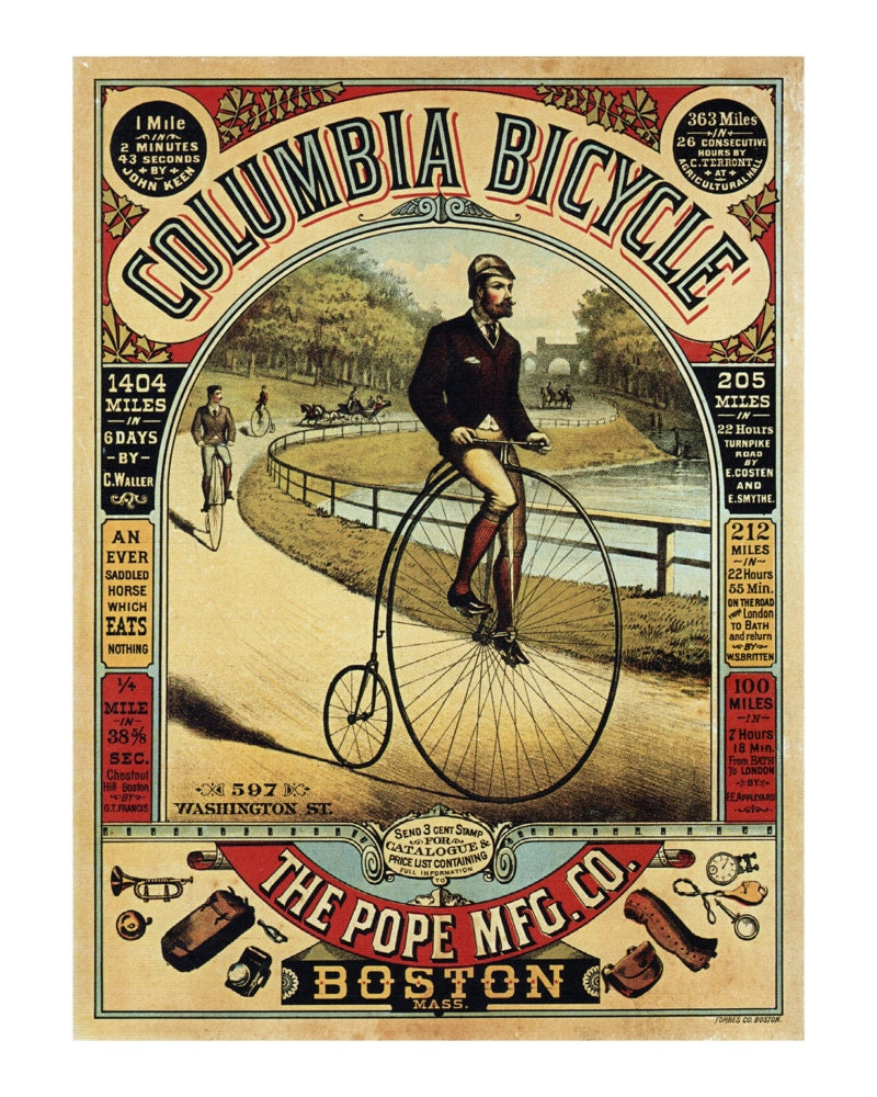 Elegant Columbia Bicycle Antique Bike Ad Poster Old Maps And Prints Vintage  Wall Art Cycling Decor Bicycle Art Bike Print With Vintage Wall Prints.