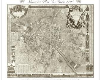 Delagrive Plan De Paris - Old Map of Paris - Vintage Art Prints - Old Maps and Prints - Antique Paris Decor - Paris Print - Parisian Map Art