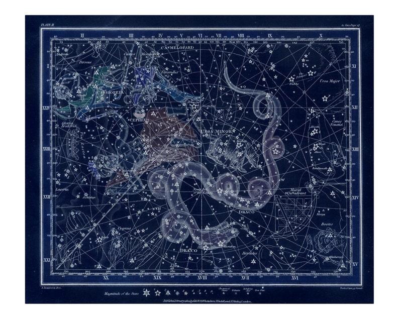 Vintage Cassiopeia Ursa Minor Constellation Celestial Map  image 0