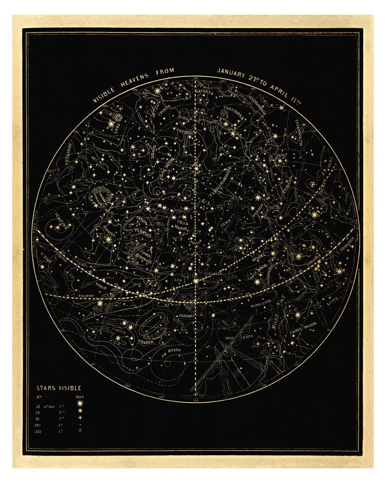 Visible Heavens 01 Constellation Celestial Chart  Astronomy image 0