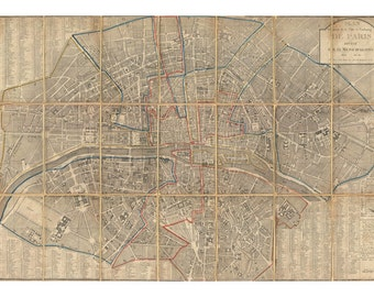 Chez Jean Map of Paris - Vintage Art Prints - Old Maps and Prints - Antique Paris Decor - Paris Prints - Old Map of Paris - Paris Poster