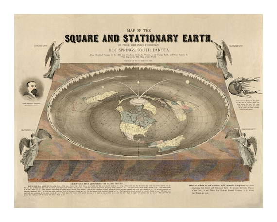 Flat earth map of the square and stationary earth old maps malvernweather Gallery
