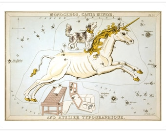 Monoceros and Canis Minor Vintage Astrological Unicorn Art Print - Astronomy Astrology Art - Celestial Constellation Chart - Old Prints