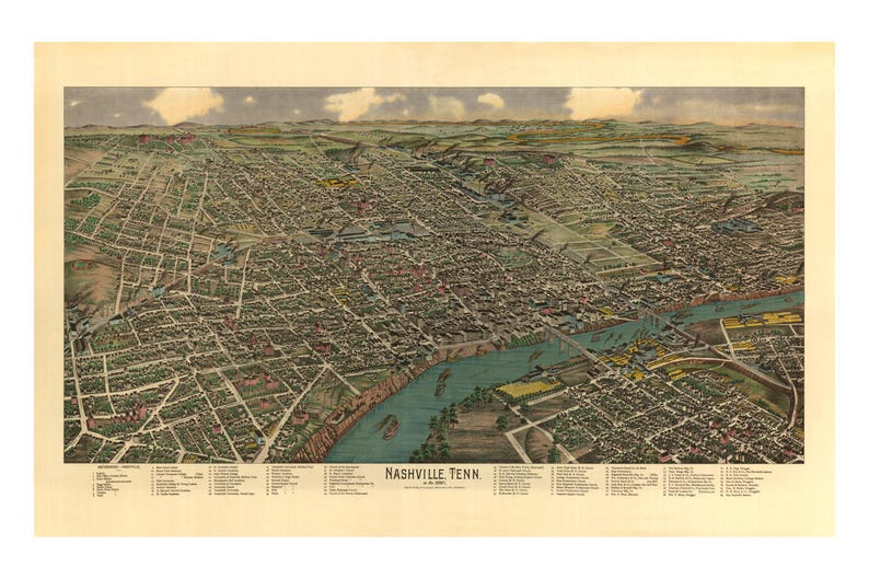 Bird's-Eye View of Nashville Tennessee in the 1880's  image 0