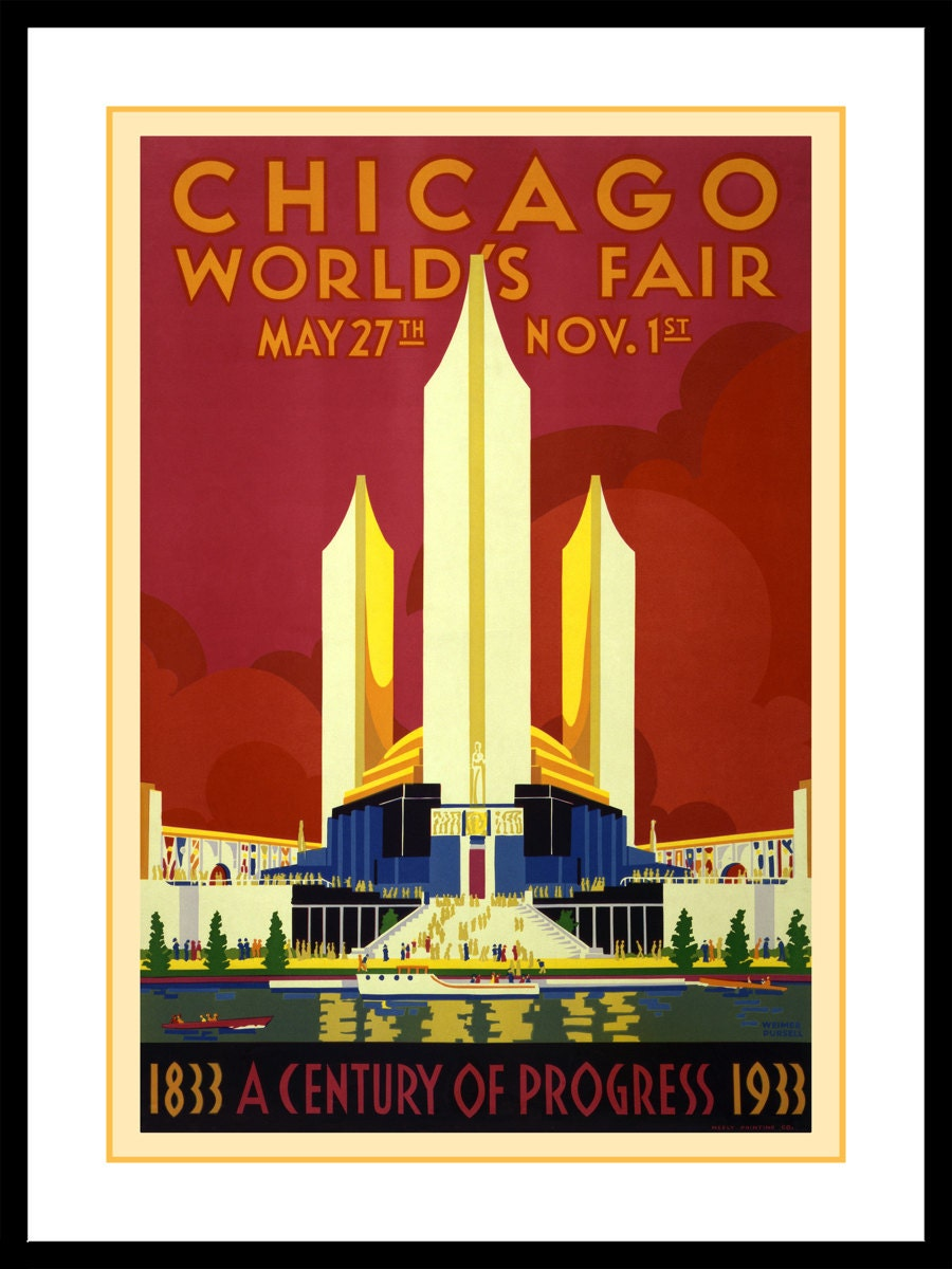 Chicago Worlds Fair Poster 1933 - Vintage Chicago Art Prints - Windy ...