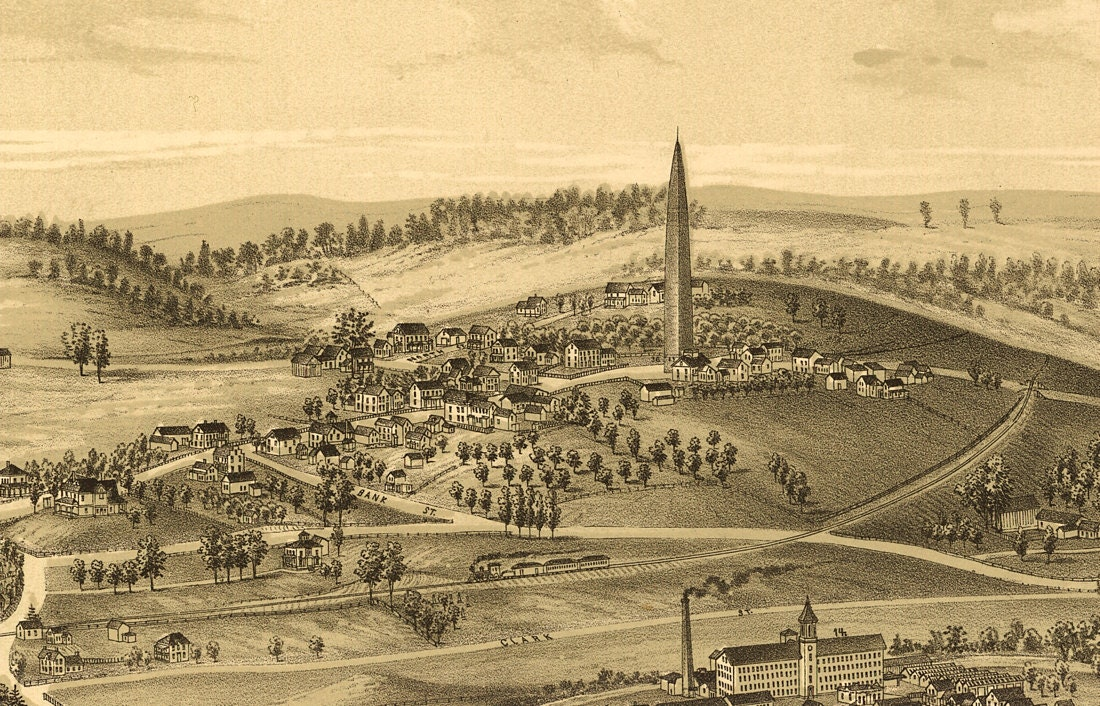 Vintage Panoramic Map of Bennington Vermont - Old Maps and Prints ...