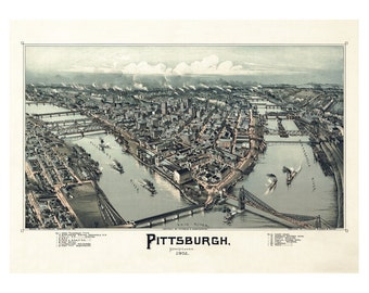Map of Pittsburgh Pennsylvania - Old Maps and Prints - Vintage Wall Art - Antique Birds Eye City Map - Americana Historic Map - History Gift