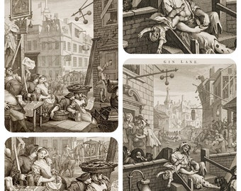 Beer Street and Gin Lane Antique Art Print Set - Bar Decor - Gifts For Men - Vintage Inspired Decor - Old Maps and Prints - Fine Art Giclee