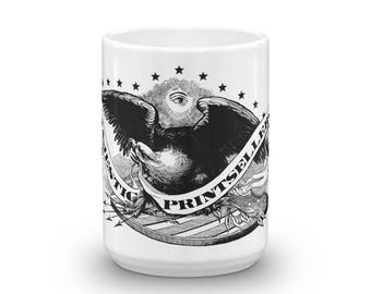 Americana Logo 15oz Coffee Mug - Vintage Eagle Print Coffee Cup - Stars and Stripes - All Seeing Eye - Patriotic Gifts - Latte Ceramic Mug