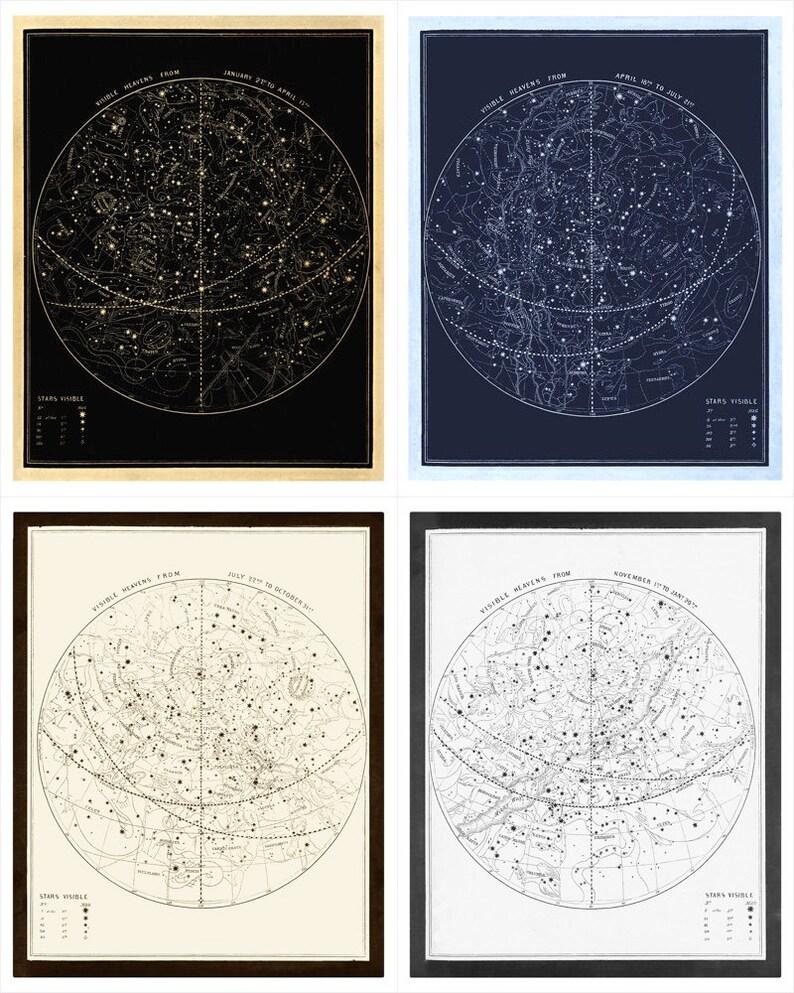 Visible Heavens Print Set  Constellation Celestial Chart  image 0
