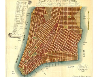 1807 Plan of the City of New York - Old Maps and Prints - New York City Wall Art - Antique City Map - Historic NYC Map - History Gift