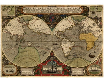 Hondius Map of the World - Antique Map Wall Decor - Restoration Style - Vintage Map Print - Old Maps and Prints - World Map Art Poster