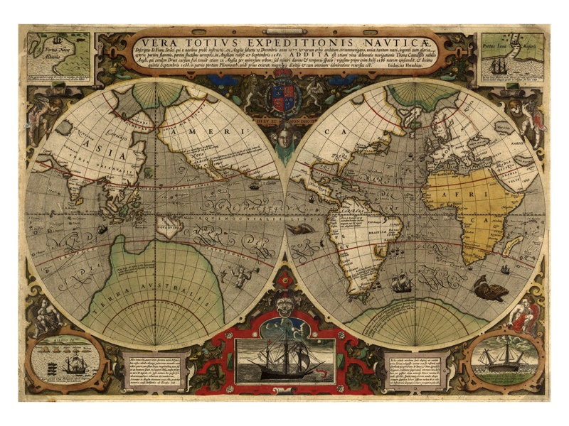 Hondius map of the world antique map wall decor restoration hondius map of the world antique map wall decor restoration style vintage map print old maps and prints world map art poster gumiabroncs Choice Image