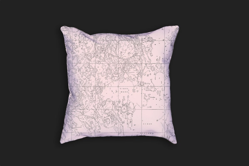 Decorative Pillow  Map of the Moon Antique Print Throw Pillow image 0
