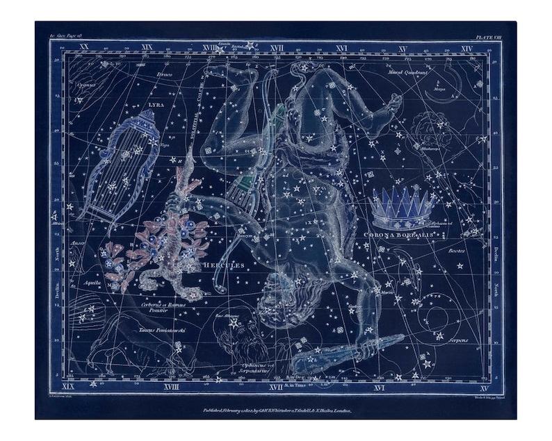 Vintage Lyra Hercules Corona Borealis Constellation Celestial image 0