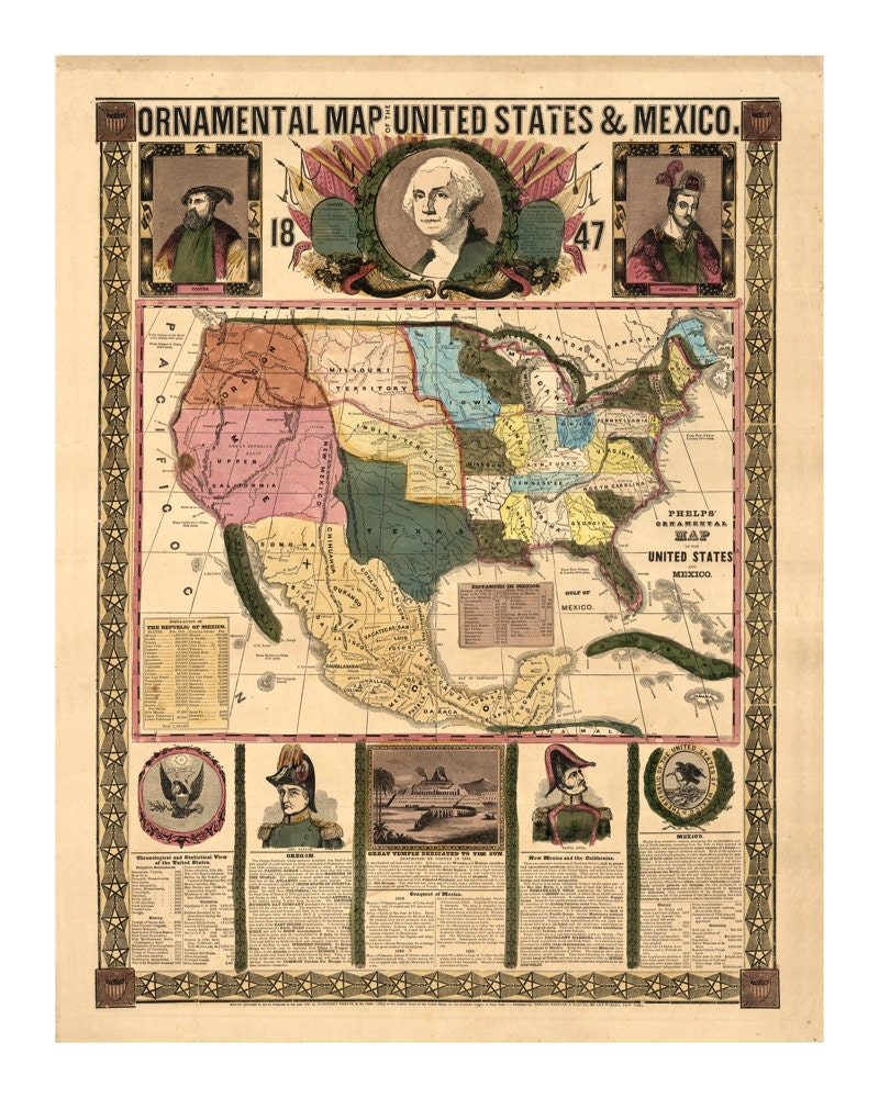 1847 Ornamental Map of the United States and Mexico - Vintage Art ...
