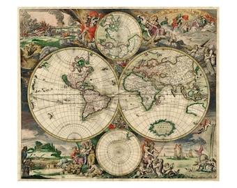 Van Schagen's Map of the World - Antique World Map - Vintage Art Print Wall Decor - Restoration Map - Old Maps and Prints - Giclee Art Print