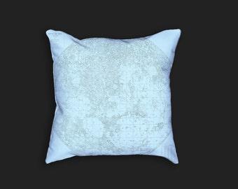Decorative Pillow - Map of the Moon Antique Print Throw Pillow - Home Decor Accent Pillows - Vintage Celestial Lunar Art - Selenology Art