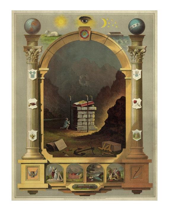 Masonic Chart Of Symbols 1872 Vintage Freemason Art Print