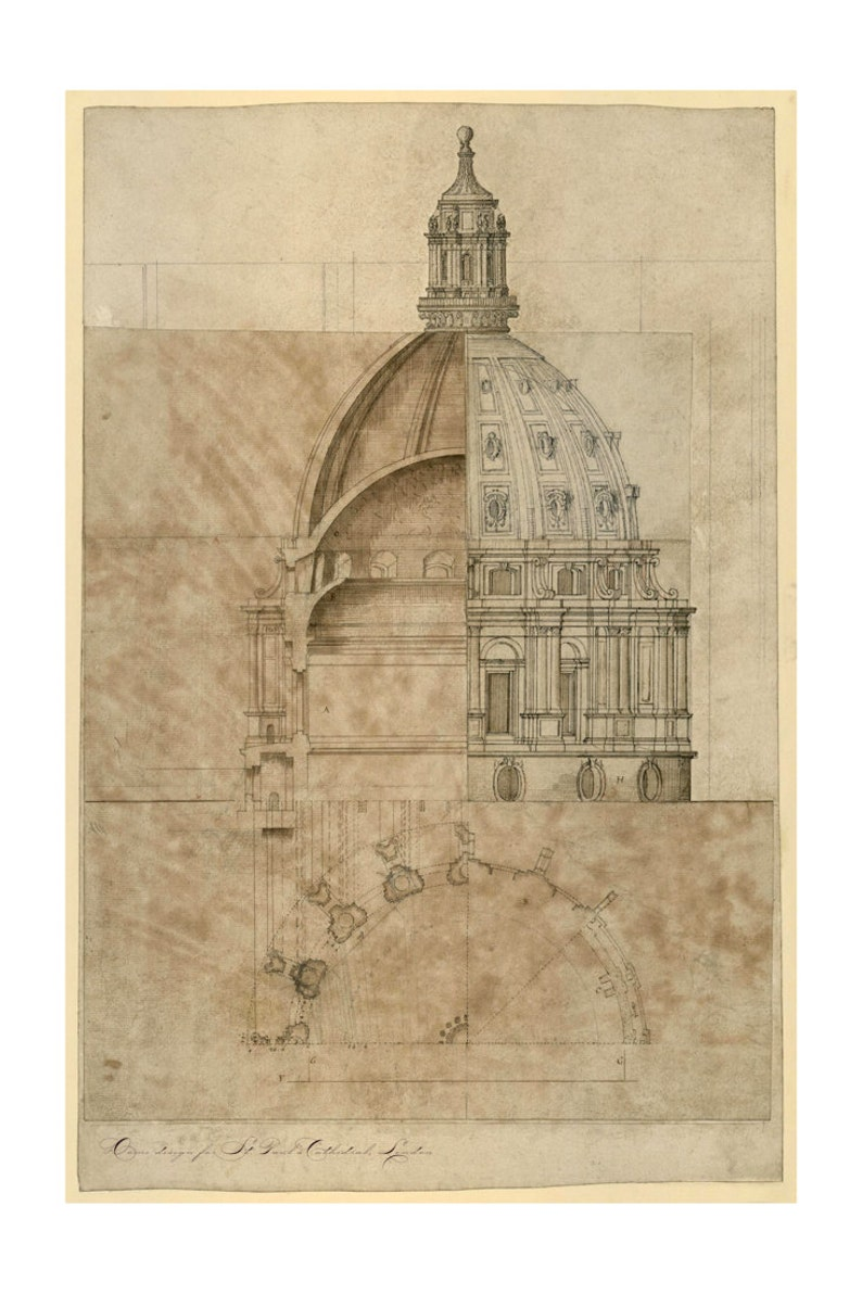 Dome Design for Cathedral of St Paul Vintage Architectural image 0