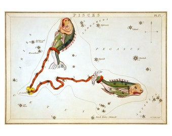 Pisces Vintage Zodiac Astrological Art Print - Astronomy Astrology Horoscope Art - Celestial Constellation Chart - Old Maps and Prints