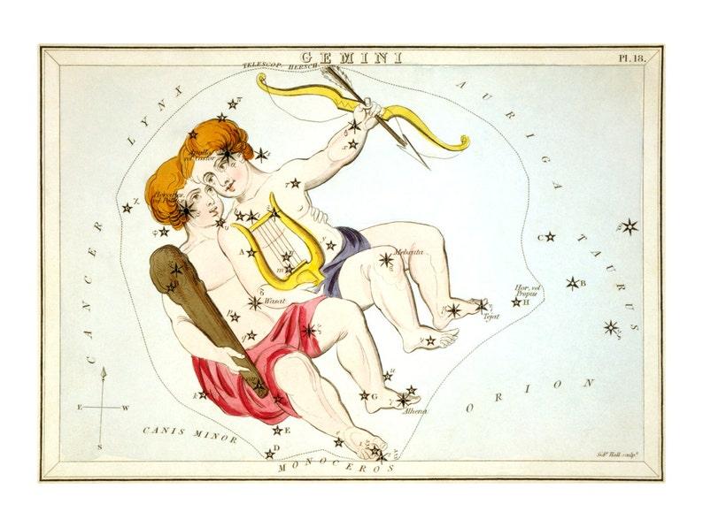 Gemini Vintage Zodiac Astrological Art Print  Astronomy image 0