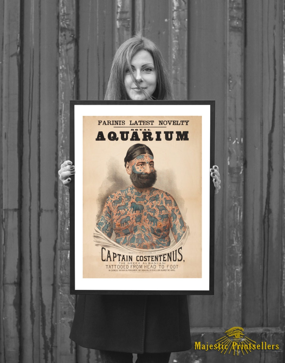 FRAMED Tattooed Man Sideshow Poster - Captain Costentenus Vintage ...