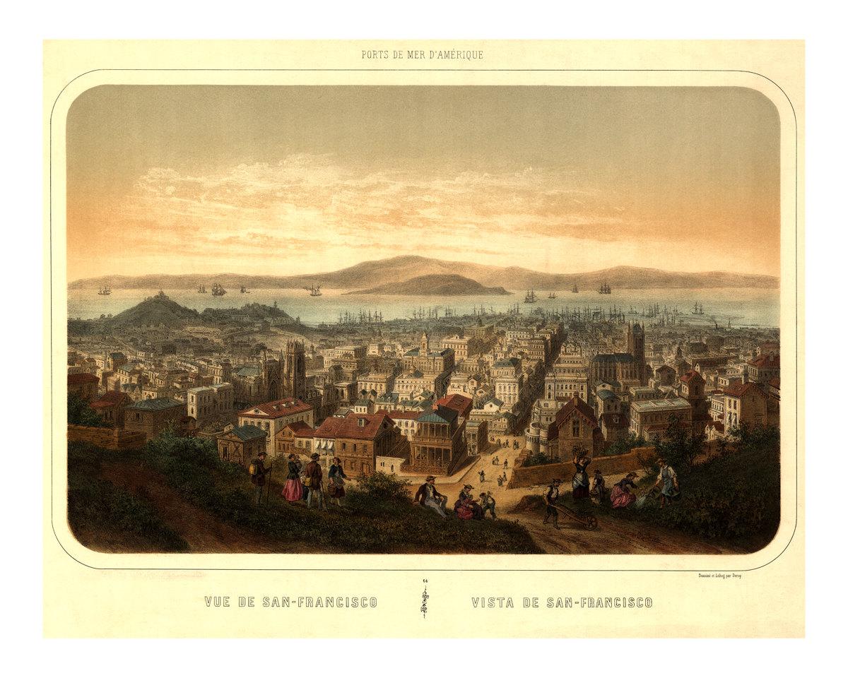 1846 Vue de San Francisco - Old Maps and Prints - Vintage Wall Art ...