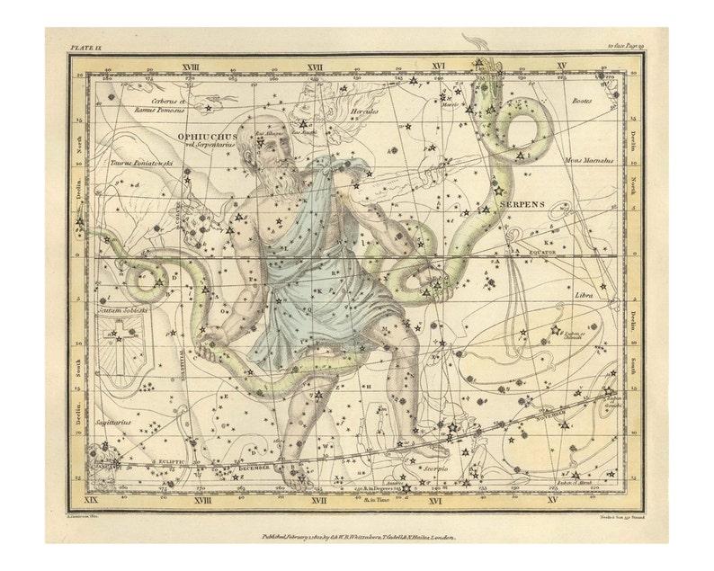 Vintage Opiuchus & Serpens Constellation Celestial Map  image 0