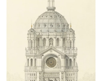 Vintage Architectural Print - Church of Saint Augustin - Religious Art Print - French Decor - Paris Gothic Cathedral Architecture Drawing