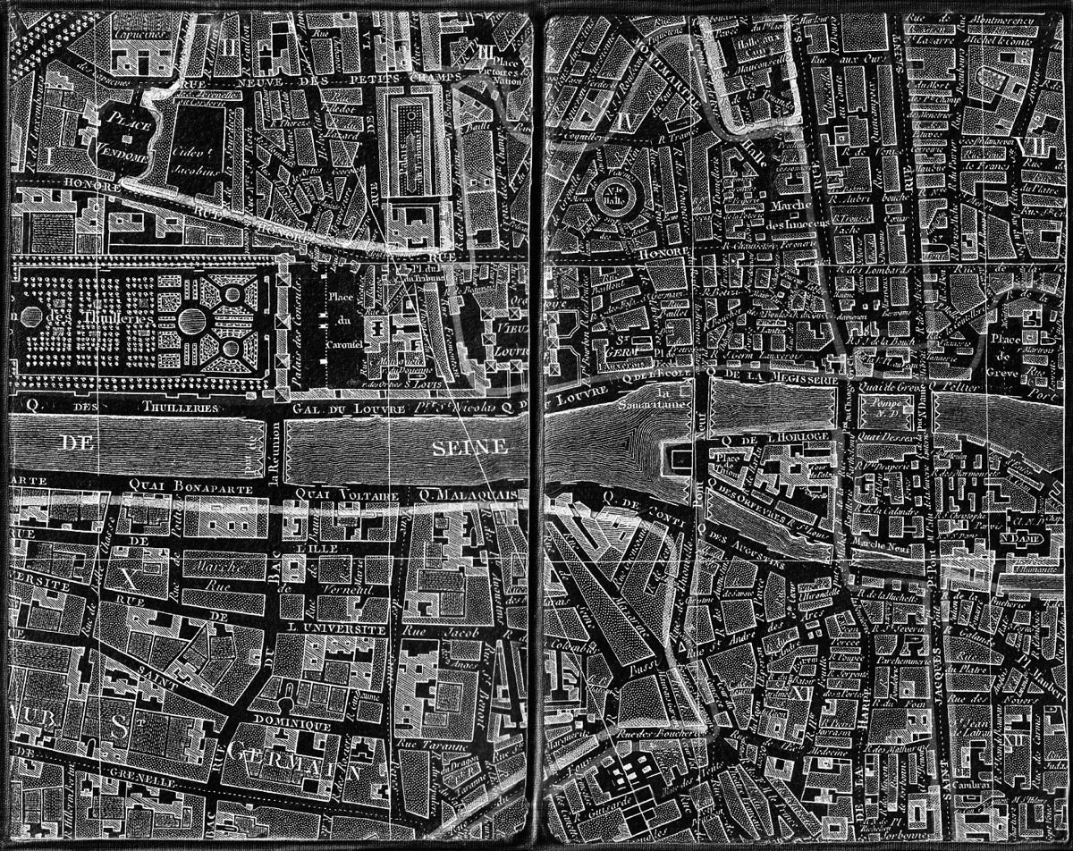 Chez Jean Map Of Paris In Black And White